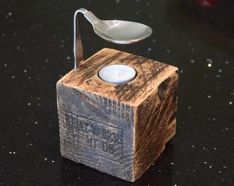 Spoon Oil Burner. Reclaimed Rustic Wood, Unique, Hygge, Bedroom, Bathroom, Diffuser, Candle, Tea-light, Living, Dining, Handmade.