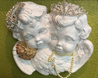 Hand embellished Twin Angels