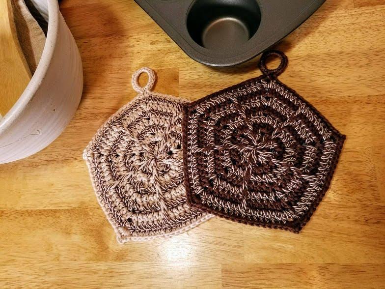 Crochet Spikes and Stripes Potholder PATTERN ONLY kitchen