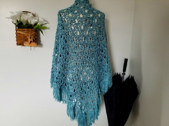 Crochet April Showers Shawl PATTERN ONLY triangle shawl prayer shawl spring  lacy women's teen teenager youth child raindrops fringe easy