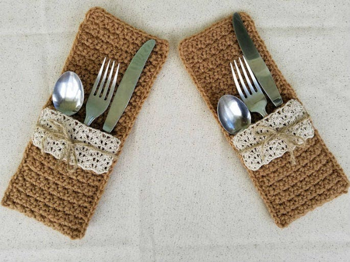 Crochet Faux Burlap and Lace Silverware Pockets PATTERN ONLY | Etsy