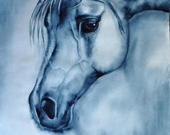 horse painting, blue wall art, watercolor painting, SvetnikArt