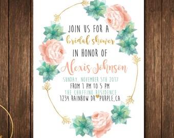 Floral Bridal Shower Invitation - Pink floral bridal shower invitation- pink floral invitation