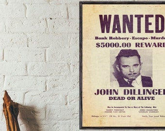 Dillinger : Vintage Gangster Movie advert Reproduction. Wall art poster