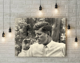 ca1ad0a3455 John F Kennedy photo JFK print vintage photograph President Cigar Room  Decor photograph 1950s photography print man cave wall decor