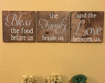 bless the food before us the family beside us and the love between us, dinning room sign, inspirational sign