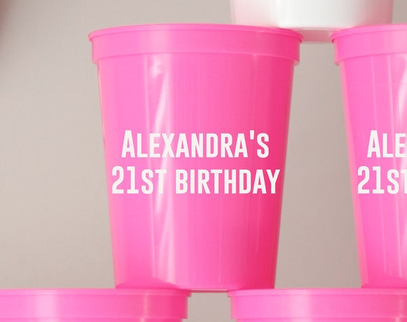21st Birthday Party Cups | Birthday Party Favors | 21st Birthday Party Gifts | Customized Birthday Party | Personalized | 21st Birthday | 21