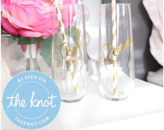 Bridesmaids or Bachelorette Party Champagne Flutes