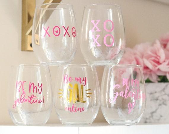 Valentine's Day Wine glass | Valentine's Glass | Valentine's Gift | Galentine's Day Gift | Galentine's Day Wine glass | Gift for Friend |
