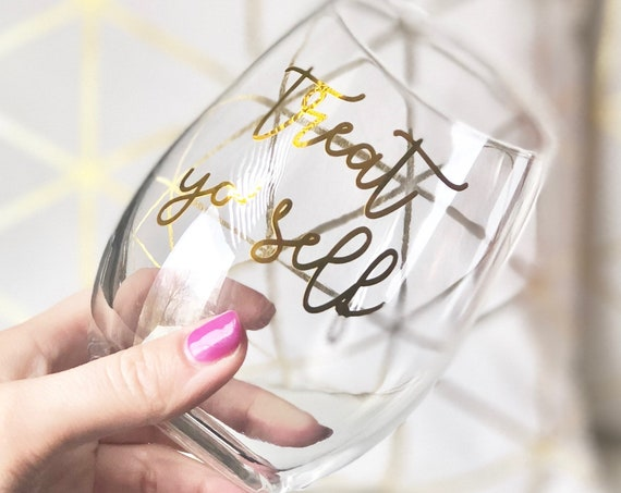 Stemless Wineglass | Target Wineglass | Gold Stemless Wineglass | Birthday Wineglass | Birthday Gift | Twenty Year Old Gifts | Girly Gifts