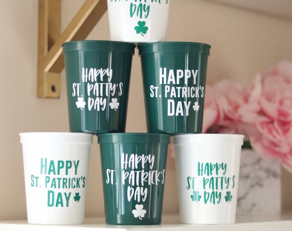 St. Patrick's Day Cups | Happy Saint Patty's Day Cups | St. Patrick's Day Favors | St. Patty's Day Cups | Happy Saint Patrick's Day Treats