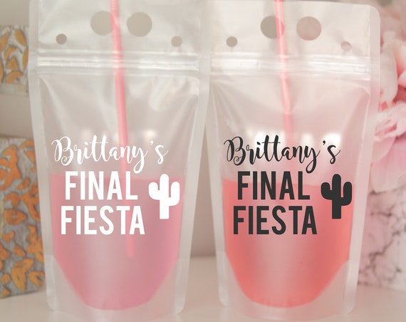 Final Fiesta Drink Pouch | Personalized Name Fiesta Bachelorette Favor | Beach Weekend Favor | Personalized | Booze Bag | Mexico Drink Pouch