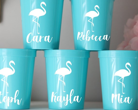 Bachelorette Flamingo Party Cups with names  | Bachelorette Party Favors | Personalized Bachelorette Party Gifts | Customized Bachelorette