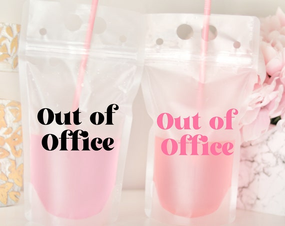 Out of Office Drink Pouch | Packable Drink Pouch | Packable Vacation Gifts | Girls Weekend | Girls Trip | Packable Favor | Booze Bag | Pouch