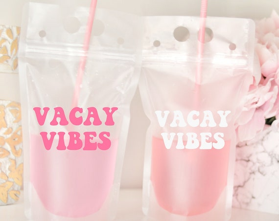 Vacay Vibes Drink Pouch | Girls Trip Gift | Girls Weekend Drink Pouch | Girls Trip Favor | Packable Favor | Booze Bag | Drink Pouch Favor |
