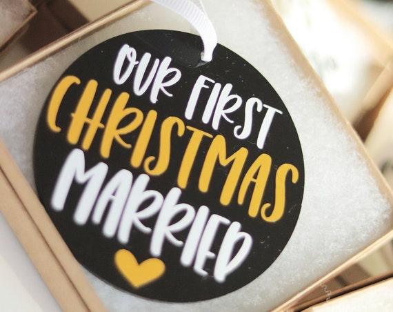 First Christmas Married Ornament | First Christmas As Mr and Mrs Ornament | Wedding Ornament | Newlywed Ornament | Personalized Xmas Gift