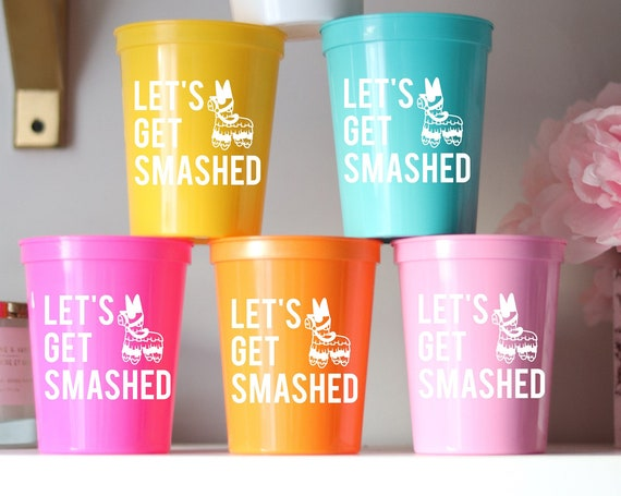 Pinata Bachelorette Cups | Let's Get Smashed |  Bachelorette Party Cups Favors | Cancun Bachelorette | Mexico Fiesta Cups | Personalized