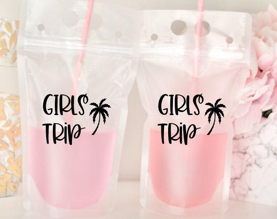 Girl Beach Trip Drink Pouch | Girls Trip Gift | Girls Trip Favor | Packable Favor | Booze Bag | Drink Pouch Favor | Pool Party Favor |