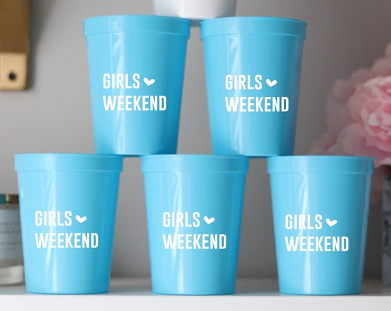 Girls Weekend Cups | Girls Weekend Bachelorette Party Cups | Sleepover Party Favors | Personalized Bachelorette Party Gifts | Bachelorette