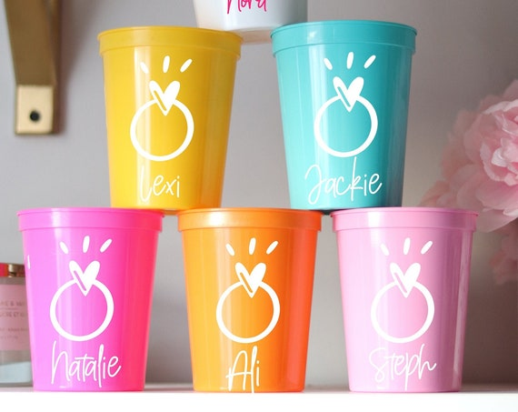 Ring Bachelorette Party Cups with Names | Bachelorette Party Favors | Bach Party Gifts | Personalized Bachelorette Cups | Customized