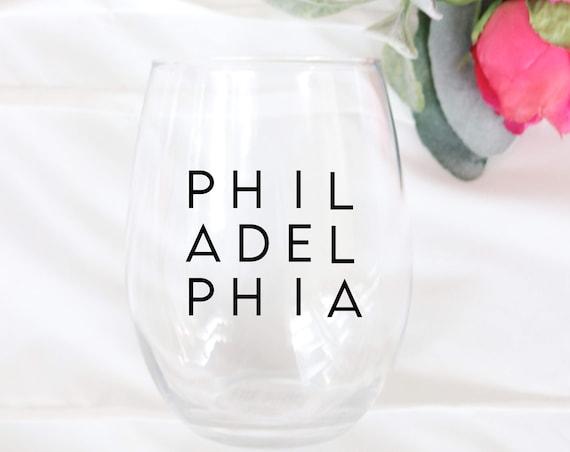 Philadelphia Wine glass | Philly Gift | Philly Glass | Philly Wine glass | Philadelphia Wedding Favor | Moved to Philly Gift | Philadelphia