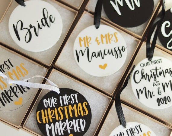 Personalized Wedding Ornament | Married Ornament | Wedding Gift Ornament | Our First Christmas Married | Mr and Mrs Ornament | Wedding Gift