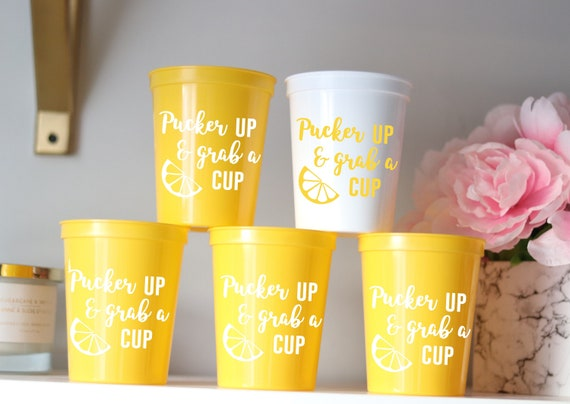 Pucker Up and Grab a Cup Bachelorette Party Cups | Lemons Cups | Lemon Bachelorette Party Favors | Bach Party Gifts | Personalized | Lemon