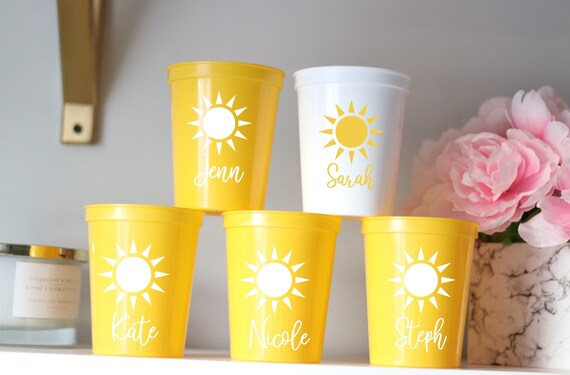 Beach Bachelorette Party Cups | Tropical Party Cups | Sun Bachelorette Party Favors | Personalized Customized Bachelorette Party Gifts