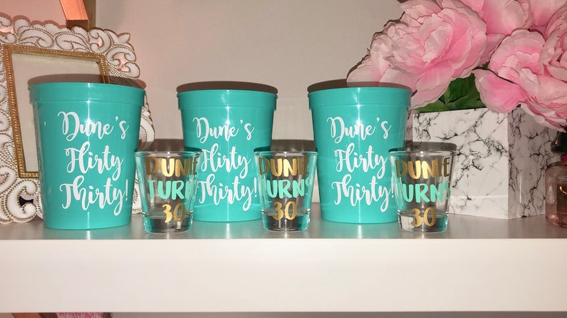Birthday Present Personalized Birthday Party Cups Birthday Gift Personalized Birthday Party Shot Glasses Gift for her Birthday