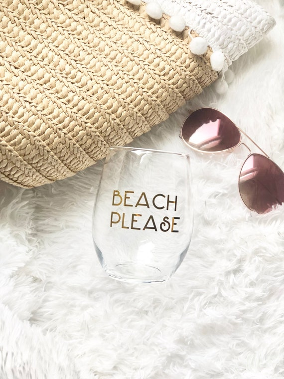 Beach Please | Beach Wineglass | Down the Shore Wineglass | Shore Wineglass | Summer Wineglass | Trendy Wineglass | Gold Stemless Wineglass