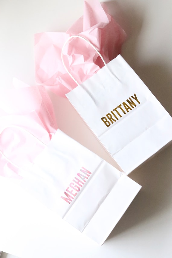 Personalized Gift Bags | Paper Gift Bags with Names | Bachelorette Gift Bags | Bridesmaids Gift Bags | Personalized Bachelorette Favors |