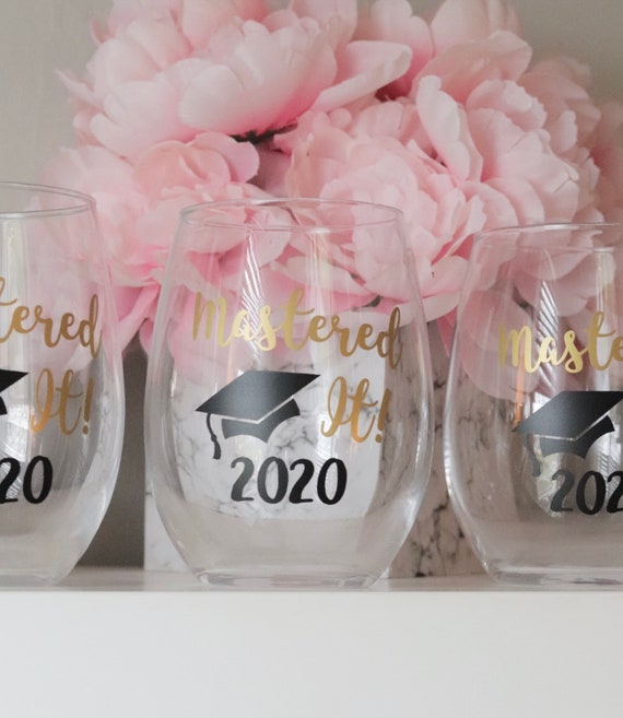 2021 Mastered It Wine Glass | Graduation Gift | Masters Degree Gift | Graduate Gift | Graduate School Gift | Class of 2021 | Grad Wine glass