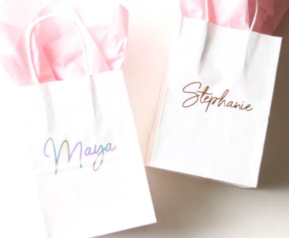 Gift Bags with Names   Bridesmaids Gift Bags   Personalized Gift Bags   Bachelorette Party Gift Bags with Names   Paper Gift Bags with names