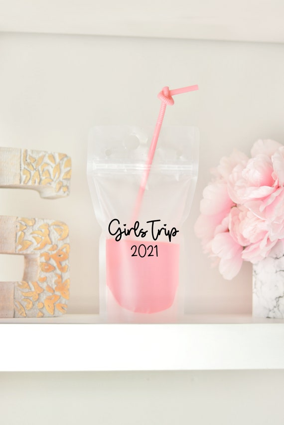 Girls Trip 2021 | Girl Trip Drink Pouch | Girls Weekend Favor | Personalized | Booze Bag | Drink Pouch Favor | Pool Party Favor | Beach Trip