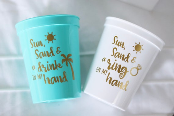 Beach Bachelorette Party Cups | Tropical Bachelorette Party Favors | Bach Party Gifts | Personalized | Customized | Bachelorette Decorations