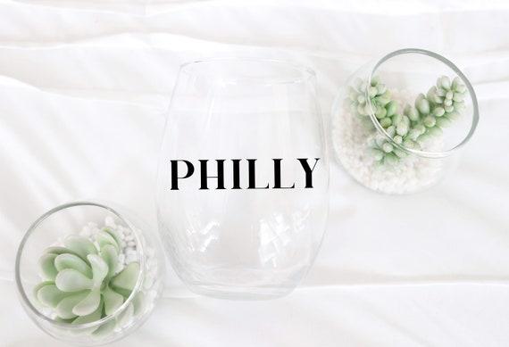 Philadelphia Wine glass   Philly Gift   Philly Glass   Philly Wine glass   Philadelphia Wedding Favor   Moved to Philly Gift   Philadelphia