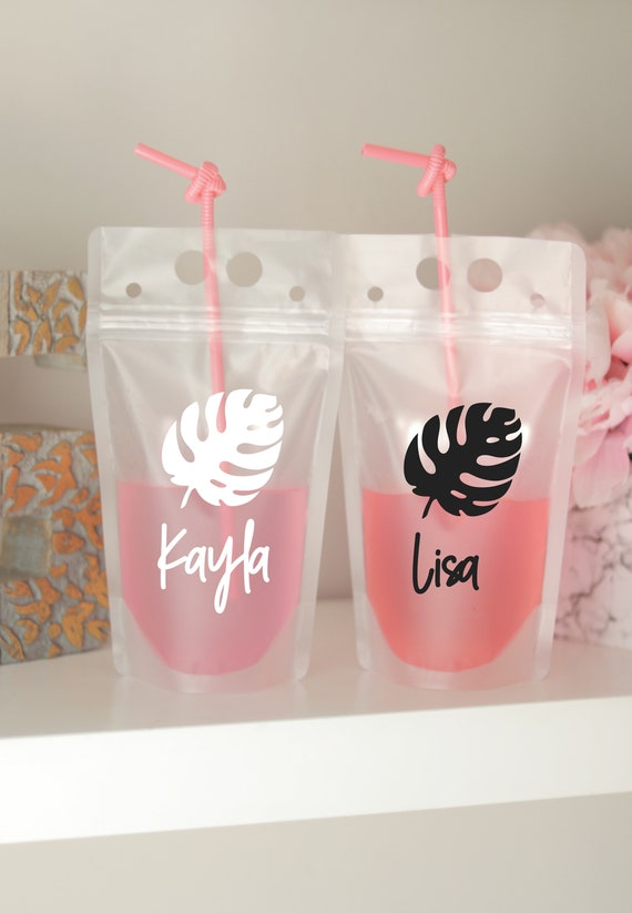 Beach Bachelorette Drink Pouch with Names   Booze Bags   Destination Bachelorette Favors   Drink Pouches   Bach Gifts   Tropical Bach Party
