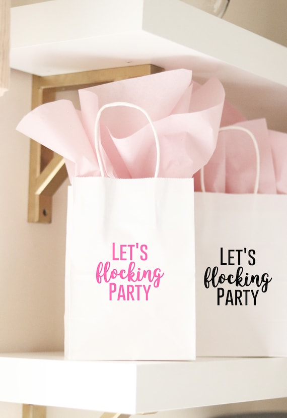 Bachelorette Flamingo Gift Bags | Flamingo Bachelorette Party Favors | Flamingo Theme Favors |  Let's Flocking Party | Flamingo Party Gifts