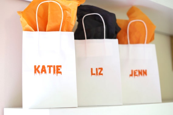 Personalized Halloween Gift Bags | Halloween Treat Bags with names |  | Halloween Goodie Bags | Personalized Halloween Favors | Favor Bags