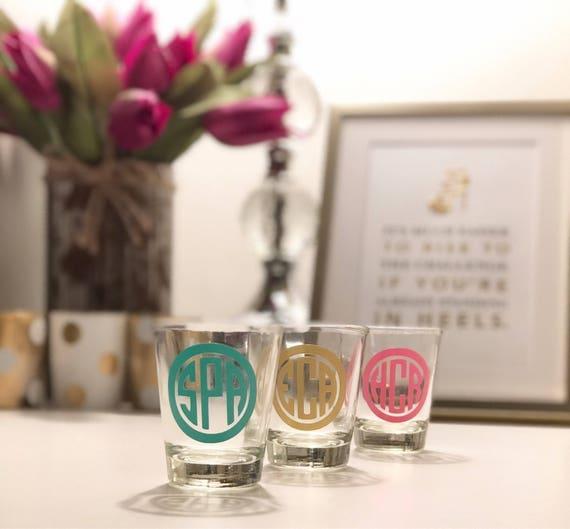 Personalized Monogram Shot Glass | 21st Birthday Shot Glass | Monogram | Personalized | College Shot Glass | Bachelorette Party Shot Glass