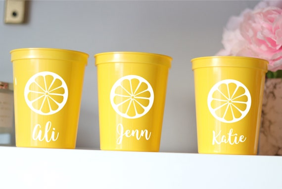 Lemon Bachelorette Party Cups | Lemons Cups | Lemon Bachelorette Party Favors | Bach Party Gifts | Personalized | Lemon