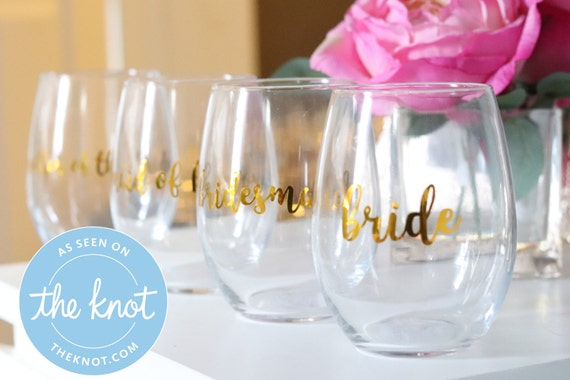 Bridesmaid Personalized Glasses