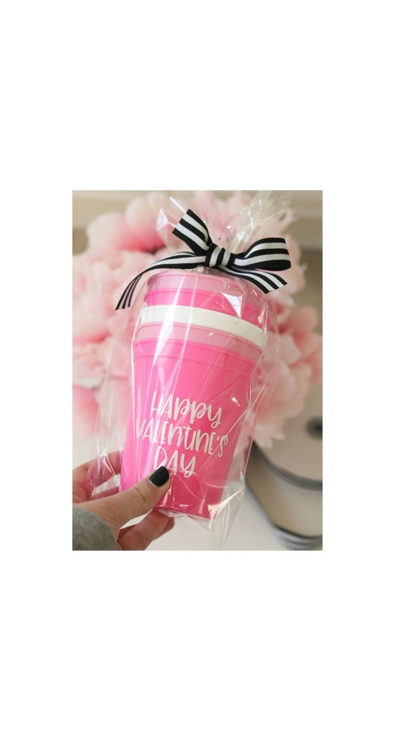 Valentine's Day Assorted Cup (5) Set with Straws | Send a Valentine Treat | Valentine's Box to Send | Valentine's Favors| Valentine gift