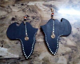 Wooden Africa shaped earrings, Black, art, Africa, African fashion, Jewelry