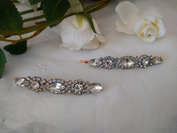 Hairpin with Czech Crystal Handmade in Vintage sty