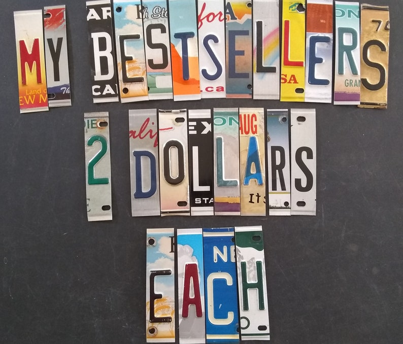 License plate letters   2.00 dollars each.  If you had ordered image 0