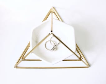 Brass Hexagon Jewelry Stand - **Ships 1/1/20