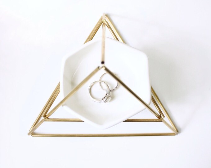 Featured listing image: Brass Hexagon Jewelry Stand