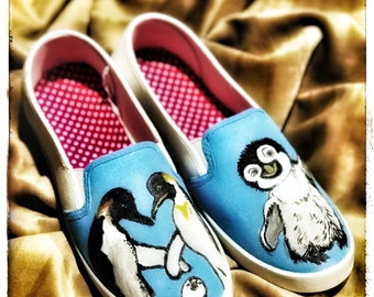 Penguin hand painted shoes