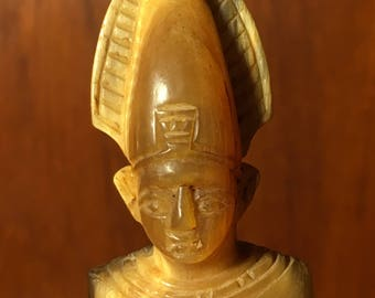 Hand Carved Horn Religious Figure Roman Catholic Priest Sculpture Statue Bovine Buffalo